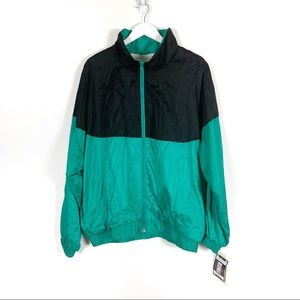 Vintage 80s Black and Green Windbreaker wi…